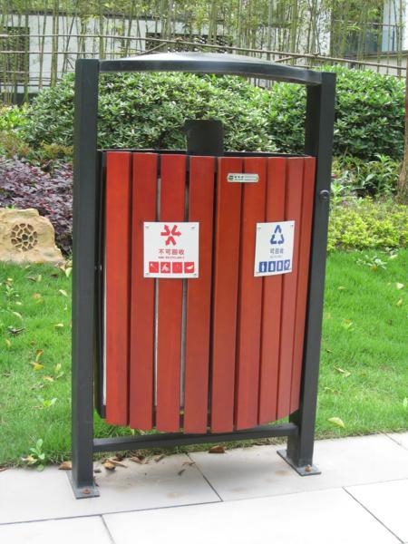 铁木制垃圾桶-木质垃圾桶-重庆市永强体育设施有限